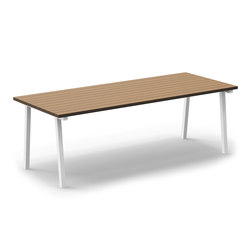 Mornington Table C Natural Slatted Solid Teak Top | Canteen tables | VUUE