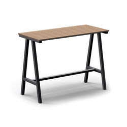 Mornington Table F Natural Slatted Solid Teak Top | Tables mange-debout | VUUE