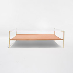 Duotone Rectangular Coffee Table | Brass / Tan | Tables basses | Yield