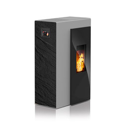 Miro | with décor side panel slate black / body silver | Pellet burning stoves | Rika