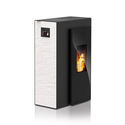 Miro | with décor side panel slate white / body black | Pellet burning stoves | Rika