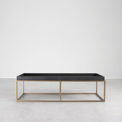 Brentwood Leather and Brass Cocktail Table | Lounge tables | Pfeifer Studio