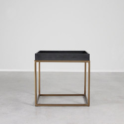 Brentwood Leather and Brass Side Table | Tavolini di servizio | Pfeifer Studio