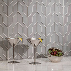 Zig Zag | Dove Gray (Clear & Frosted) | Glas Fliesen | AKDO
