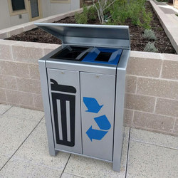 LXRC1502-32-MS-VGST-VGST-RS Trash/Recycle Container | Exterior bins | Maglin Site Furniture