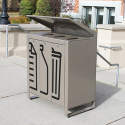 LXRC1503-48-MS-VGST-VGST-VGST-RS Trash/Recycle Container | Corbeilles | Maglin Site Furniture