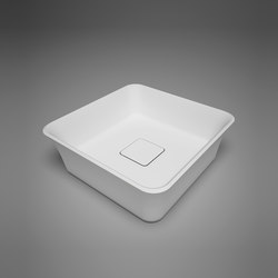 box | blu•stone™ square countertop basin with drain cover | Lavabos | Blu Bathworks