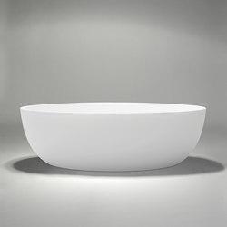 halo | blu•stone™ freestanding oval bathtub - white matte | Baignoires ilôts | Blu Bathworks