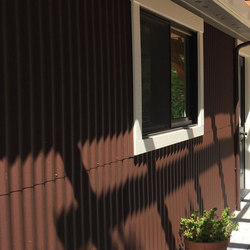 Corrugated Metal on Brown Powder Coat - Exterior | Paneles | Moz Designs