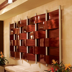 Metal Weave Art in Classic Collection Honduran Mahogany with Coarse Grain | Wall decoration | Moz Designs