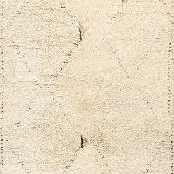 Cream Color Vintage Shagi Moroccan Beni Ourain Rug | Tappeti / Tappeti d'autore | Nazmiyal Rugs