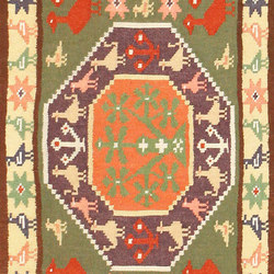 Green Background Vintage Swedish Scandinavian Runner Rug | Rugs | Nazmiyal Rugs