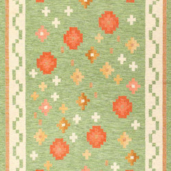 Vintage Flat Woven Green Swedish Scandinavian Kilim Rug | Rugs | Nazmiyal Rugs