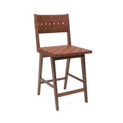 Woven Leather Backed Stool | Bar stools | Smilow Design