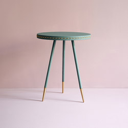 Stud leather side table | Beistelltische | Bethan Gray