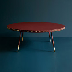Stud leather coffee table | Lounge tables | Bethan Gray