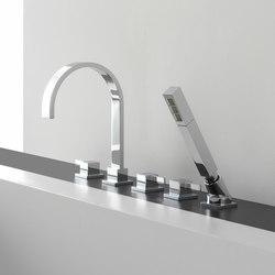 Qubic - Deck-mounted bathtub mixer with hand shower set | Bath taps | Graff