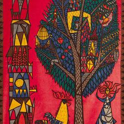 Vintage Velvet Print Scandinavian Rug by Stig Lindberg | Rugs / Designer rugs | Nazmiyal Rugs