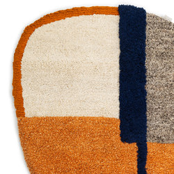Nudo | rug small, blue/orange/ochre | Tappeti / Tappeti d'autore | Ames