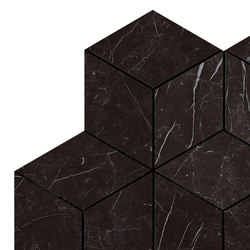 Marvel Stone mosaico esagono nero marq lappato | Ceramic panels | Atlas Concorde