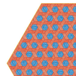 Hexagon | red blue rug | Rugs | moooi carpets