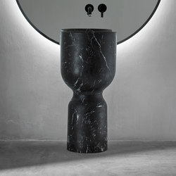 Origin Free Standing Black Marquina Marble Washbasin | Wash basins | Inbani