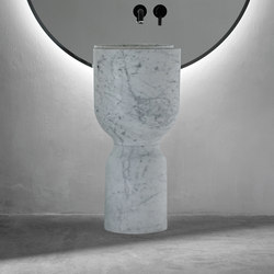 Origin Free Standing White Carrara Marble Washbasin | Wash basins | Inbani