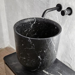 Origin Top Mounted Black Marquina Marble H45 Washbasin | Lavabi | Inbani