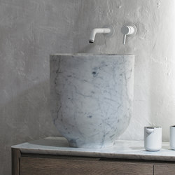 Origin Top Mounted White Carrara Marble H45 Washbasin | Lavabi | Inbani