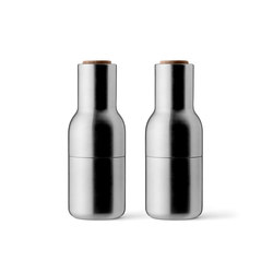 Bottle Grinder, Brushed Stainless Steel w. Walnut Lid, 2-pack | Salt & pepper shakers | MENU