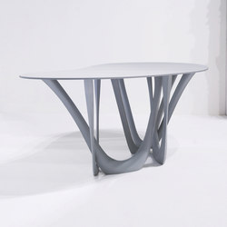 G-Table With Carbon Steel Base In Graphite Grey With Concrete Top | Tavoli pranzo | Zieta