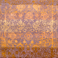 Designer Isfahan Abrashed Floral Cartouches Hues Of Gold on Lilac | Rugs | Zollanvari