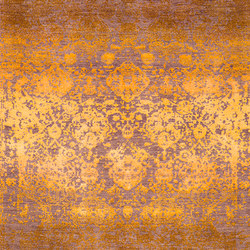Designer Isfahan Abrashed Floral Cartouches Hues Of Gold on Silver Grey | Rugs | Zollanvari