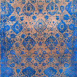 Designer Isfahan Abrashed Floral Cartouches in Blue on Silver Grey | Rugs | Zollanvari