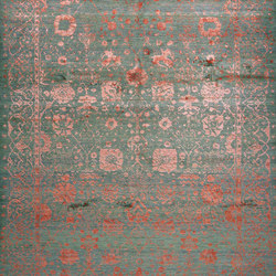 Designer Isfahan Abrashed Floral Cartouches in Hues in Pink on Grey Green | Rugs / Designer rugs | Zollanvari