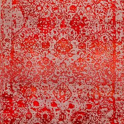 Designer Isfahan Abrashed Floral Cartouches in Red on Silver Grey | Tappeti / Tappeti d'autore | Zollanvari