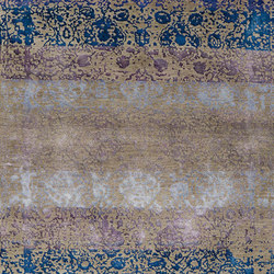 Designer Isfahan Abrashed Floral Cartouches in Turquoise Blue and Violet on Silver Grey | Tappeti / Tappeti d'autore | Zollanvari