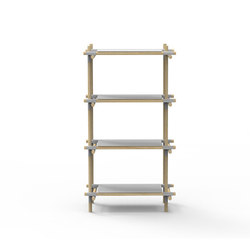Stick System, 1x4, Grey/Light Ash | Office shelving systems | MENU