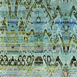 Kundan Diffusion Koti Silk Baroque Ikat Blues | Formatteppiche / Designerteppiche | Zollanvari