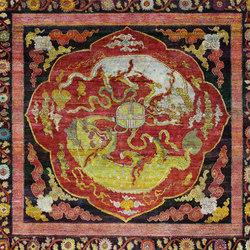 Kundan Pure Silk Confronting Fu Dogs | Formatteppiche / Designerteppiche | Zollanvari