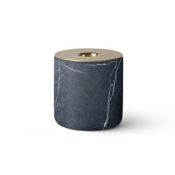 CHUNK of Black Marble L w.  Brass | Candlesticks / Candleholder | MENU