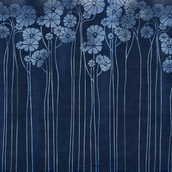 Denim Daisy Blue | Bespoke wall coverings | GLAMORA