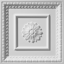 English Lamb's Tongue Center Rosette Ceiling Tile | Mineral composite panels | Above View Inc