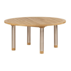 Equinox | Dining Table 150 Circular with Teak Top and Steel Legs | Dining tables | Barlow Tyrie