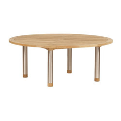 Equinox | Dining Table 180 Circular with Teak Top and Steel Legs | Mesas de comedor de jardín | Barlow Tyrie