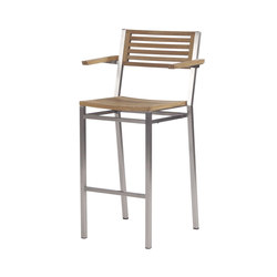 Equinox | High Carver with Teak Seat & Back | Garten-Barhocker | Barlow Tyrie