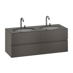 FURNITURE | 1550 mm Furniture with upper and lower drawer for two 670 mm under-counter washbasins. | Nero | Vanity units | Armani Roca