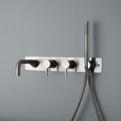 Volcano | Stainless steel Wall mounted 2 mixer set | Shower controls | Quadrodesign