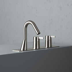 Volcano | Stainless steel Rim mounted set with spout | Bath taps | Quadrodesign