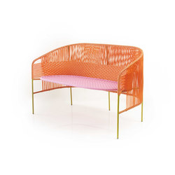 Caribe | 2-seater bank, orange/rose/curry | Bancos de jardín | Ames